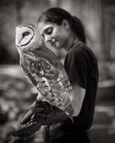 Marjan With Barn Owl Beate Sass Barn Owl On Arm