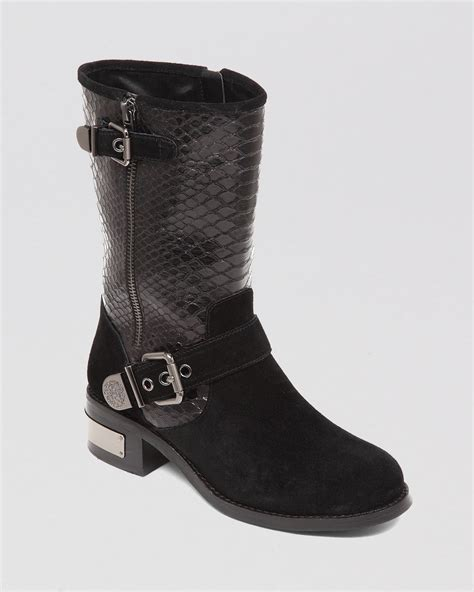 vince camuto boots lyst vince camuto moto boots witty in black