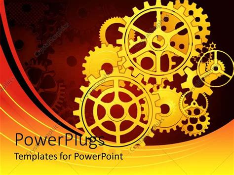 powerpoint template gears and wrenches over yellow powerpoint template yellow mechanical gears placed for