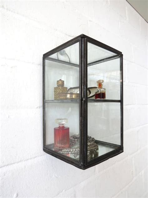 wall display cabinet trinket curio mirrored wall shelf