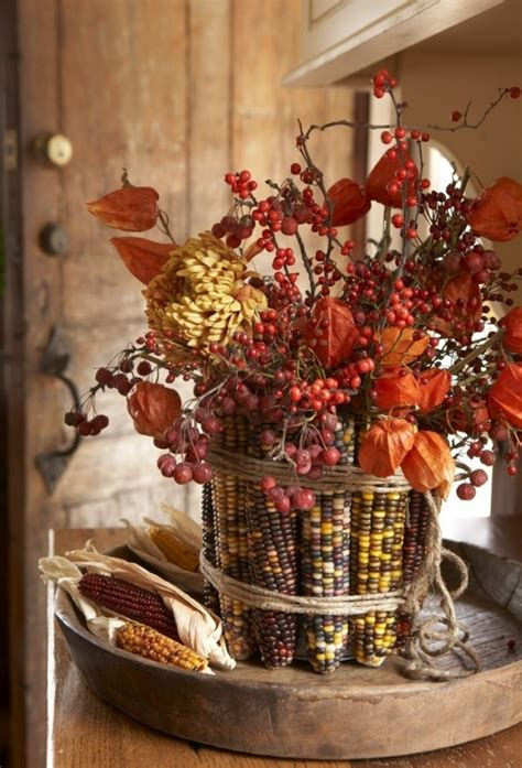 indian corn decorations for fall autumn indian corn centerpiece mantles centerpieces