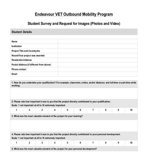 student survey template 19 student survey templates free sle exle