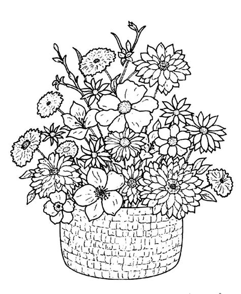 Flower Bouquet Coloring Pages Flower Bouquet Coloring Pages Coloring Home