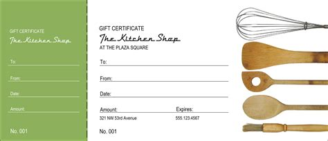 cooking certificate template kitchen gift certificate