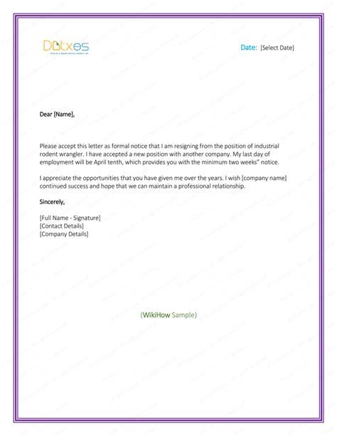 5 resignation letter templates to write a professional letter dotxes
