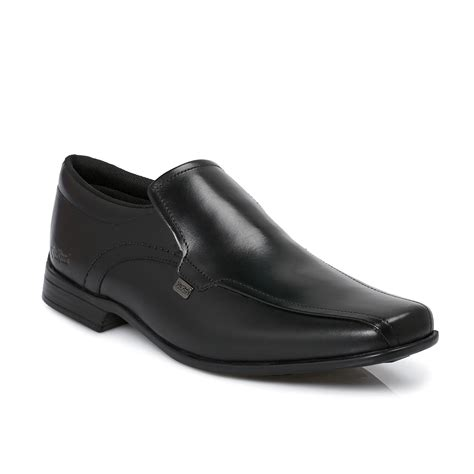 Kickers Zapato Slip On kickers ferock black slip on shoes mens boys school office