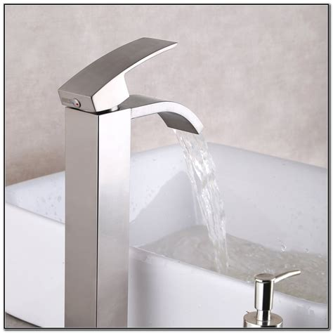brushed nickel waterfall bathroom faucet waterfall bathroom vessel sink faucet brushed nickel sink and faucets home