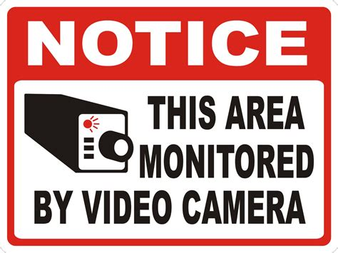 the noticer notice this area monitored by video camera wall mount aluminum sign12 quot x18 quot ebay