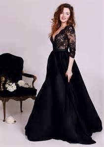 Diyouth black lace deep v neck prom dresses 2016 3 4 sleeves tulle