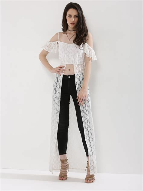 Maxi Top buy koovs lace cold shoulder maxi top for s white maxi tops in india