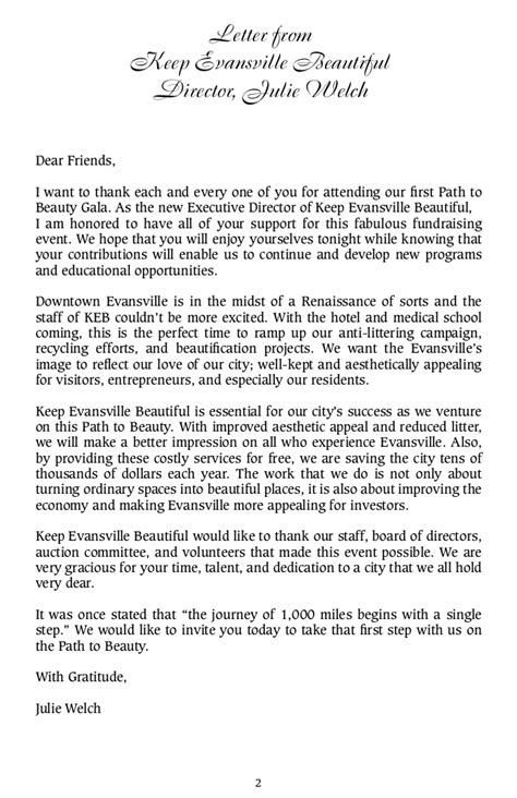Fundraising Gala Letter Keb Path To Gala