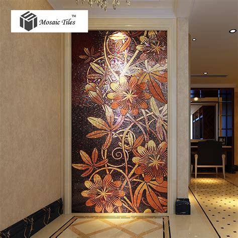 tst mosaic mural nature flower vines black shinning