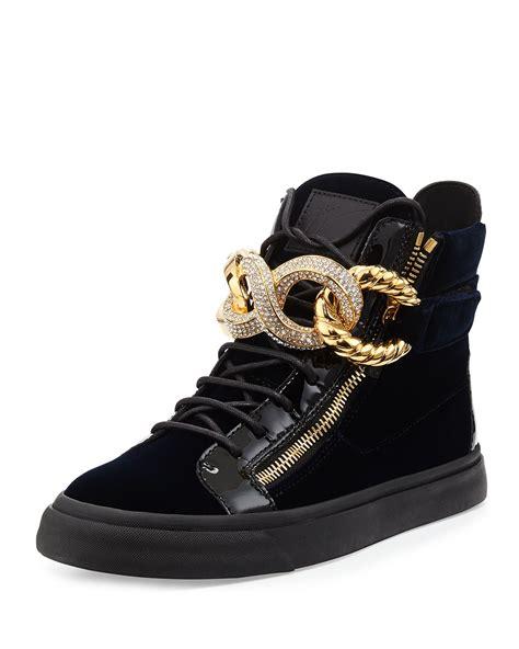 giuseppe zanotti mens sneakers giuseppe zanotti chainfront velvet hightop sneaker