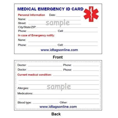 details about medical emergency wallet card for medical