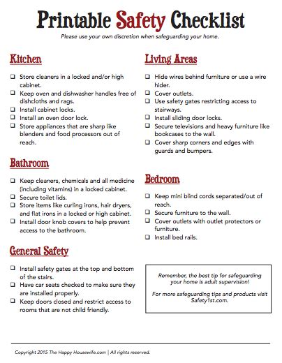 printable home safety checklist cleaning and organizing