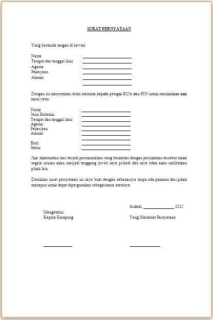 Contoh Surat Izin Nikah Suratmenyuratnet