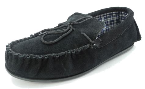 mens house shoes size 15 mens mokkers real suede leather moccasin slippers brown black blue size 6 15 ebay