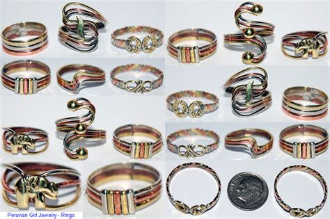 Handmade Metal - peru jewelry lot 5 metal rings stylish trendy artisan