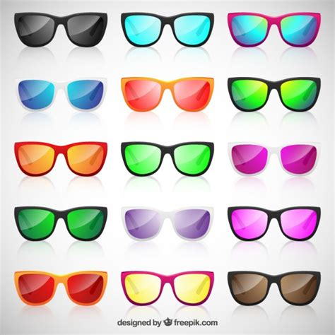 colorful glasses colorful sunglasses collection vector premium