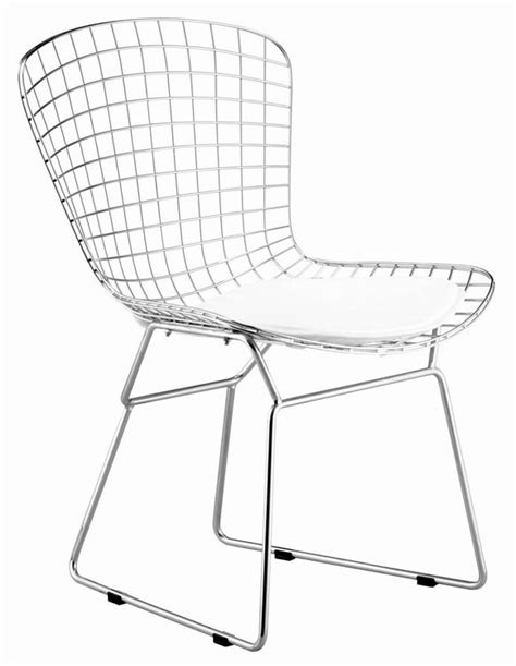 solid steel wire chair with leatherette cushion harry