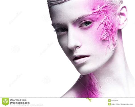 art beauty camera clothes fashion art fashion girl with white skin and pink paint on stock