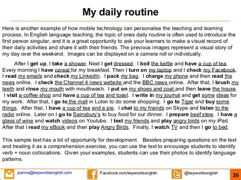 My Routine Day Essay by Creative Pedagogy And Mobile Education