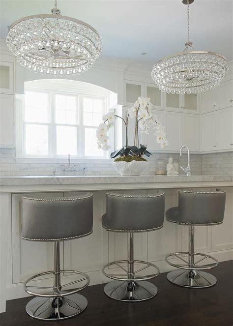 bar stools for white kitchen gray swivel barrel back counter stools transitional