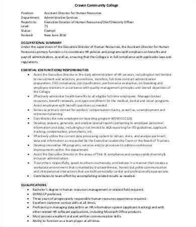 human resources description human resource officer description in pdf sle human