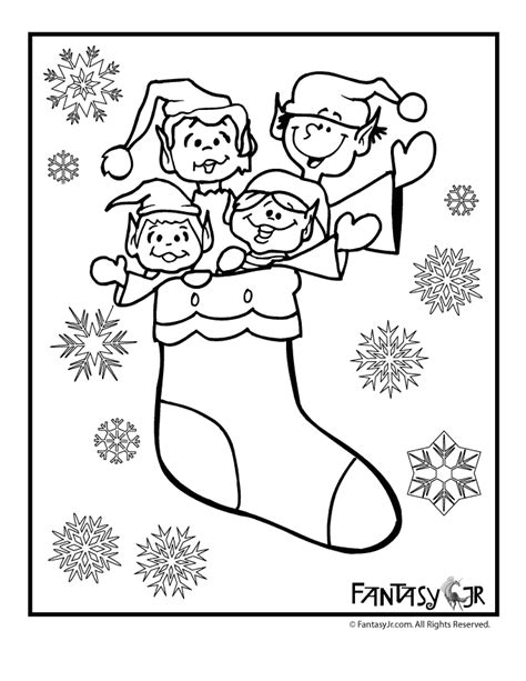 elf stocking coloring pages christmas elves in stocking coloring page woo jr kids