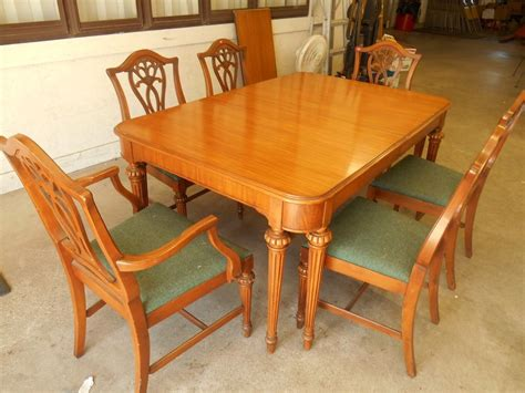 Dining Table China Vintage Bernhardt Dining Room Set Walnut Table 6 Chairs China Hutch Server Ebay