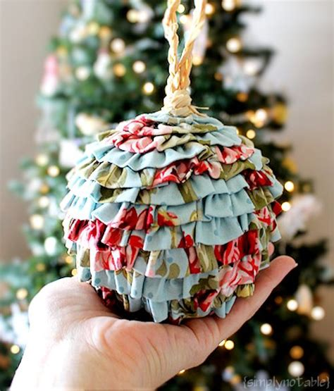 christmas bulbs demcoration with fabric frilly and flouncy ruffled balls simply notable