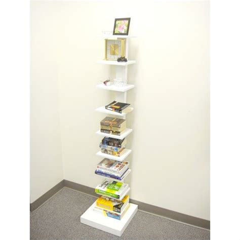standing l with shelves proman products spine standing book shelves in white wm16568