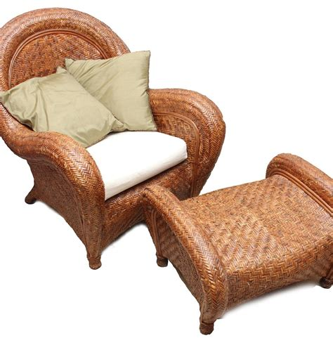 pottery barn rattan quot malabar quot chair and ottoman ebth