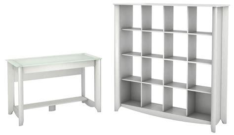 Aero Pure White Desk With 16 Cube Bookcase From Bush 16 Cube Bookcase White