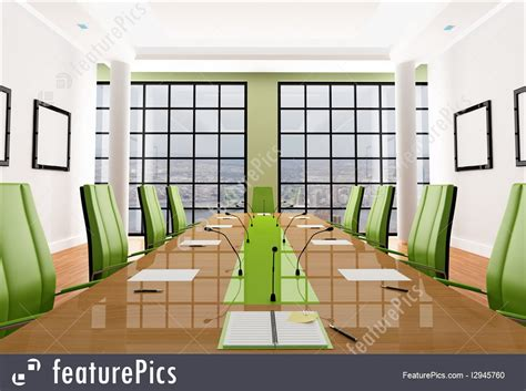 Office Architecture: Green Meeting Room   Stock