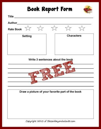 free printable book reports free book report form