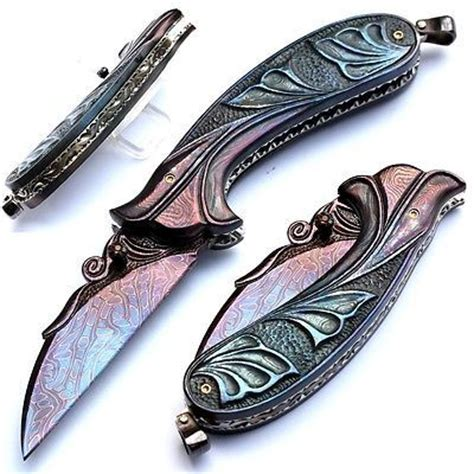folding carving knife folding knife carved mosaic damascus blade carved damascus