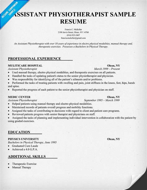 physiotherapy assistant resume exle resume sle assistant physiotherapist resume http