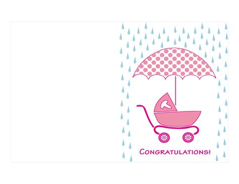 printable baby shower postcards pink colored printable baby shower card umbrella and cart