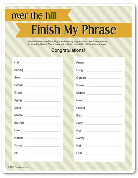 printable birthday games printable over the hill finish my phrase birthday