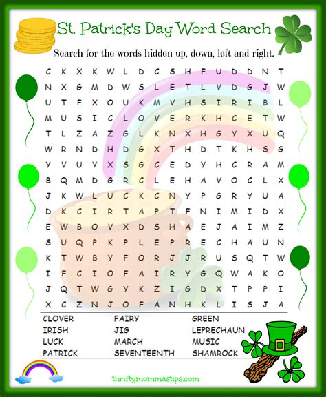 st s day printable and activities for st patricks day word search