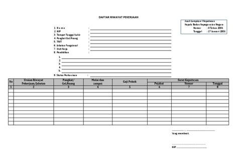 format biodata kepegawaian format daftar riwayat pekerjaan