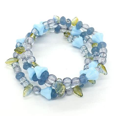 wire jewelry kits glass beaded memory wire bracelet kit powder blue