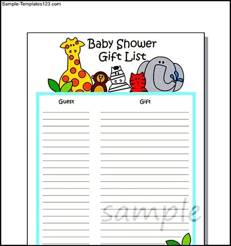 baby shower gift wish list template sle sle templates