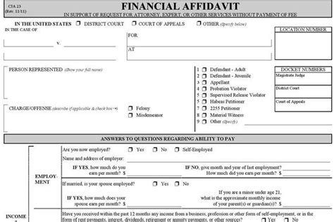 financial affidavit affidavit form free premium templates forms