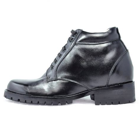 comfortable elevator shoes men heght increase genuine leather ankle elevator boots 9