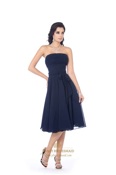 navy strapless knee length chiffon bridesmaid dress
