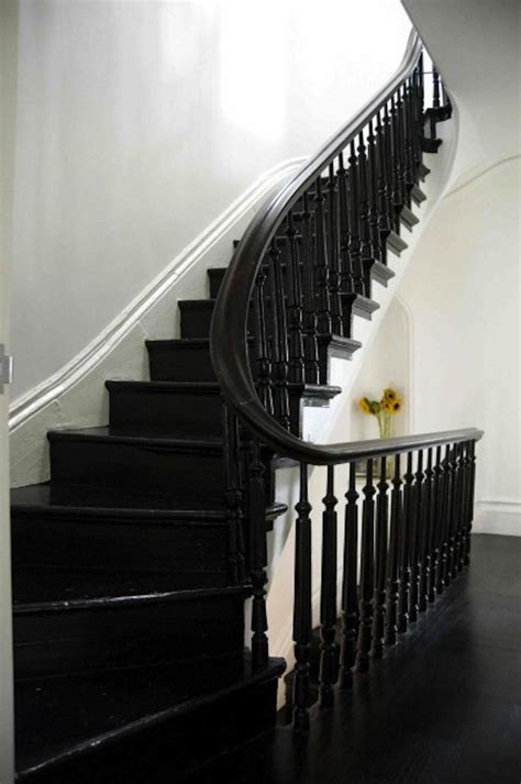 Black Banister White Spindles by Black Painted Stairs On Black Stairs Black