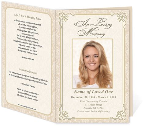 funeral card templates edit print ready made program funeral