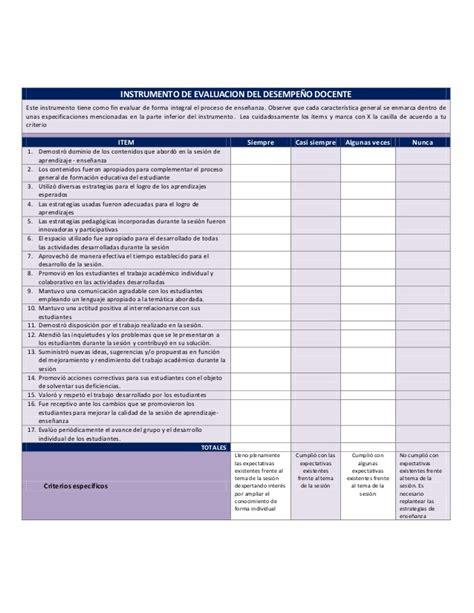 evaluacion ineval docentes rubrica de evaluacion docente